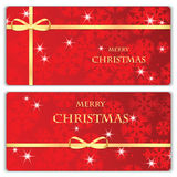 Set of Christmas and New Year banners. With snowflakes and gold ribbons vector illustration
