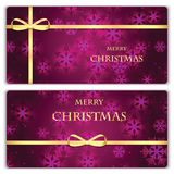 Set of Christmas and New Year banners with snowflakes. And gold ribbons stock illustration