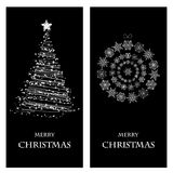 Set of Christmas and New Year banners. With snowflakes and a Christmas tree vector illustration