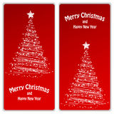 Set of Christmas and New Year banners. With snowflakes and a Christmas tree stock illustration