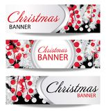 Set Christmas and New Year banners with white fir branches and holly berries. Illustration with place for your text. Royalty Free Stock Photo
