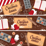 Set of Christmas, New Year banners with wooden. Table, kitchen, cooking cookies, sweets, cupcakes. Vector vector illustration