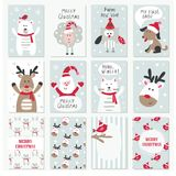 Set of Christmas and New Year cards Stock Photo