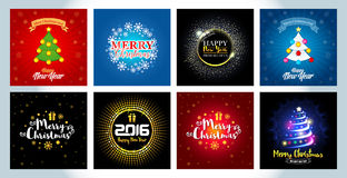Set of Christmas and New Year cards, flyers, brochures templates. Bright vector backgrounds. Bright colors and creative illustrtions Stock Images