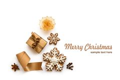 Set of Christmas and New Year decoration for design stock photo