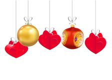 Set of Christmas and New Year decorations isolated on white background. Christmas tree toys on a strings. Vector illustration.  stock illustration