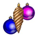 Set of Christmas and New Year decorations isolated on white background. Christmas tree toys balls and cone . Vector illustration.  vector illustration