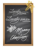 Set of Christmas and New Year decorative text chalk element Royalty Free Stock Photo