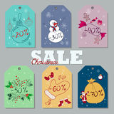 Set of Christmas and New Year discount tags Royalty Free Stock Image