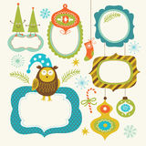 Set of Christmas and New Year elements. Cute frames for your text Royalty Free Stock Images