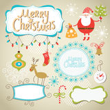 Set of Christmas and New Year elements. Cute frames for text Royalty Free Stock Photos