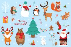 Set of Christmas and New Year elements with animals and Santa. Vector illustration stock image
