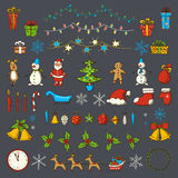 Set of Christmas and new year elements in sketch style. Stock Images