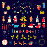 Set of Christmas and new year elements in sketch style. Stock Photo
