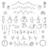 Set of Christmas and new year elements in sketch style Royalty Free Stock Images