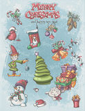 Set of Christmas and New Year festive items and characters. Royalty Free Stock Photo