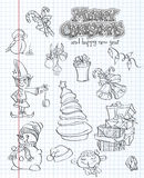 Set of Christmas and New Year festive items and characters. blac Stock Image