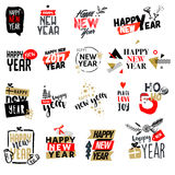 Set of Christmas and New Year flat design badges and labels. Hand drawn vector illustrations for greeting cards, website design, gift tags and marketing royalty free illustration
