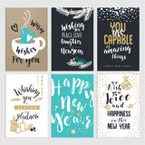 Set of Christmas and New Year flat design greeting cards Stock Image