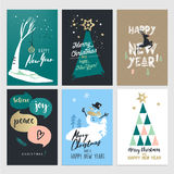 Set of Christmas and New Year flat design greeting cards Stock Photo