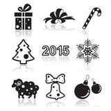 Set of christmas and new year flat icons Stock Photography