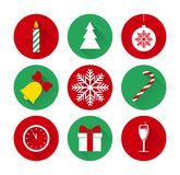 Set of christmas and new year flat icons Royalty Free Stock Photos