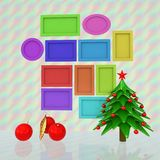 Set of Christmas and New Year frames and Christmas tree. 3D rend. Er royalty free illustration