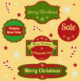 Set of Christmas and New Year frames and elements Stock Photo