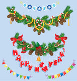 Set of Christmas and New Year garlands with horse  Stock Images