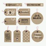 Set of Christmas and New Year gift tags Stock Images