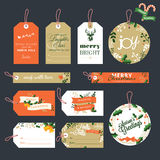Set of Christmas and New Year gift tags Stock Photos