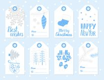 Christmas and New Year gift tags vector set. Set of Christmas and New Year gift tags. Vector illustration Stock Photography