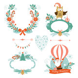 Set of Christmas and New Year graphic elements Royalty Free Stock Photos