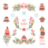 Set of Christmas and New Year graphic elements Royalty Free Stock Image