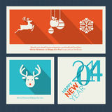 Set of Christmas and New Year greeting card templa Stock Photo