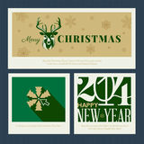 Set of Christmas and New Year greeting card templa Stock Photos
