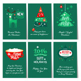 Set of Christmas and New Year greeting cards. C congratulations Stock Image