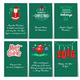 Set of Christmas and New Year greeting cards. C congratulations Royalty Free Stock Photo
