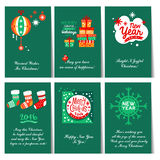 Set of Christmas and New Year greeting cards. C congratulations Stock Photo