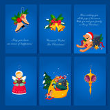 Set of Christmas and New Year greeting cards. Set of Christmas and New Year 2016 greeting cards c congratulations Royalty Free Stock Photos