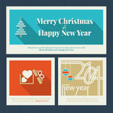 Set of Christmas and New Year greeting cards. Set of Christmas and New Year greeting card templates vector illustration