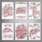 Set Of Christmas And New Year Greeting Cards. Royalty Free Stock Photography