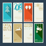 Set of Christmas and New Year greeting cards. Design the front and back of the greetings vector illustration