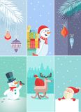 Set of Christmas and New Year greeting cards Stock Photo