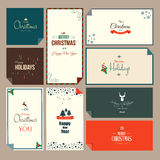 Set of  Christmas and New Year greeting cards. Flat style. Vector Stock Images