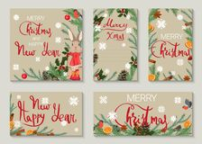 A set of Christmas and New Year greeting cards royalty free illustration