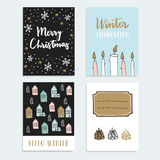 Set of Christmas, New Year greeting, journaling cards, invitations. Hand drawn illustration. Candles, snowflakes, winter houses. Set of Christmas, New Year stock illustration