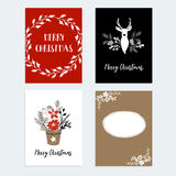 Set of Christmas, New Year greeting, journaling cards, invitations. Hand drawn reindeer, holly wreath, poinsettia. Set of Christmas, New Year greeting Royalty Free Stock Photo