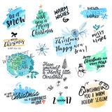 Set of Christmas and New Year hand drawn badges and labels. Watercolor vector illustrations for greeting cards, website design, gift tags and marketing material stock illustration