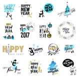 Set of Christmas and New Year hand drawn badges and labels. Watercolor vector illustrations for greeting cards, website design, gift tags and marketing material royalty free illustration